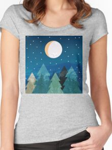 Coniferous forest with the background of the dark blue sky. Full moon.  Drawing Women's Fitted Scoop T-Shirt