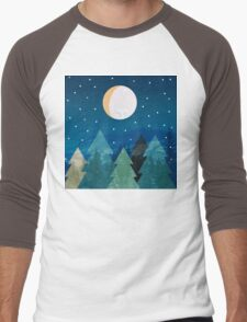 Coniferous forest with the background of the dark blue sky. Full moon.  Drawing Men's Baseball ¾ T-Shirt