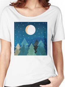 Coniferous forest with the background of the dark blue sky. Full moon.  Drawing Women's Relaxed Fit T-Shirt