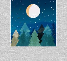 Coniferous forest with the background of the dark blue sky. Full moon.  Drawing Unisex T-Shirt