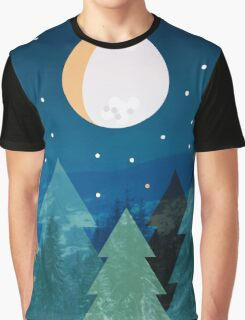 Coniferous forest with the background of the dark blue sky. Full moon.  Drawing Graphic T-Shirt