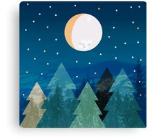 Coniferous forest with the background of the dark blue sky. Full moon.  Drawing Canvas Print