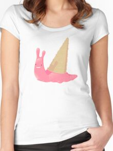 Strawberry Ice Cream Snail Women's Fitted Scoop T-Shirt