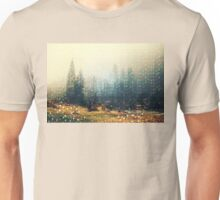 Mountain wildlife landscape. Coniferous forest in the mist. Spring, soft hipster colors. Colorful tiny triangles as a background pattern Unisex T-Shirt
