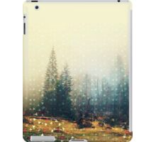 Mountain wildlife landscape. Coniferous forest in the mist. Spring, soft hipster colors. Colorful tiny triangles as a background pattern iPad Case/Skin