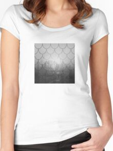 Dark forest. Black and white. Scales pattern Women's Fitted Scoop T-Shirt