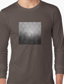 Dark forest. Black and white. Scales pattern Long Sleeve T-Shirt