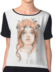 Portrait of a young girl in floral wreath Chiffon Top