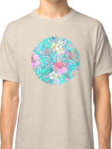 Pretty Pastel Hawaiian Hibiscus Print Classic T-Shirt
