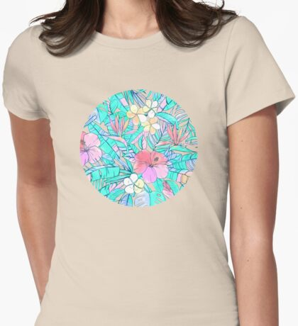 Pretty Pastel Hawaiian Hibiscus Print Womens Fitted T-Shirt