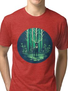Deer Forest Landscape - blues Tri-blend T-Shirt