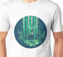Deer Forest Landscape - blues Unisex T-Shirt