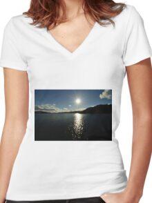 Evening Sun Women's Fitted V-Neck T-Shirt