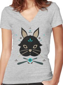 Black Bunny Women's Fitted V-Neck T-Shirt