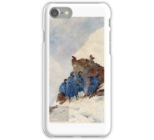 A group of First World War Chasseurs Alpins in the Alps sheltering behind a large rock in a snowstorm. . Pierre Comba  iPhone Case/Skin