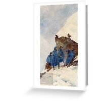 A group of First World War Chasseurs Alpins in the Alps sheltering behind a large rock in a snowstorm. . Pierre Comba  Greeting Card