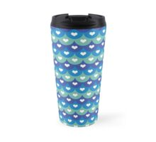 Fish scales and hearts- Summer ideas Blues tones- Beach  Travel Mug