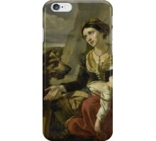 A Saint Bernard Dog Comes to the Aid of a lost Woman with a sick Child, Charles Picqué,  iPhone Case/Skin