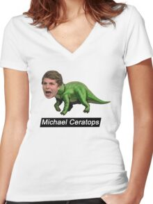 Michael Ceratops Women's Fitted V-Neck T-Shirt