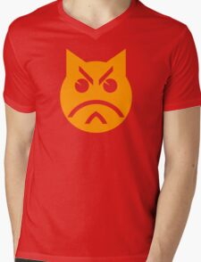 Pouting Emoji Cat Mens V-Neck T-Shirt