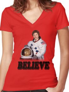 Michael Cera Believes in You Women's Fitted V-Neck T-Shirt