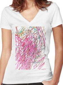 Pink Scribble (Gym) Women's Fitted V-Neck T-Shirt