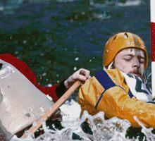 """Physical exertion in canoeing 1 (c)(t) canon eos 10 """" 1 collimateur af en continue celui de gauche ( 3 en tout )""""  300 f.2.8 + x2 = 600 mm f/6.4  création Okaio  kodachrome 200 iso  scoop de 1989 Sticker"""