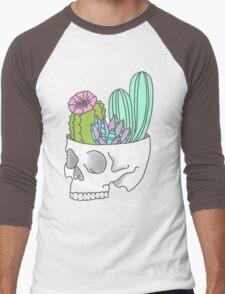 Skull succulent feminist skeleton cactus southwest girly tumblr pastel print Men's Baseball ¾ T-Shirt