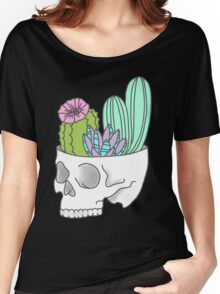 Skull succulent feminist skeleton cactus southwest girly tumblr pastel print Women's Relaxed Fit T-Shirt