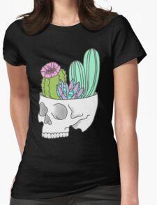 Skull succulent feminist skeleton cactus southwest girly tumblr pastel print Womens Fitted T-Shirt