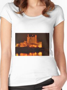 Eilean Donan Castle at night Women's Fitted Scoop T-Shirt