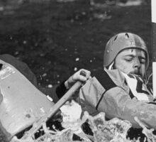 """Physical exertion in canoeing 2 (n&b)(t) canon eos 10 """" 1 collimateur af en continue celui de gauche ( 3 en tout )"""" 300 f.2.8 + x2 = 600 mm f/6.4 création Okaio kodachrome 200 iso scoop de 1989 Sticker"""