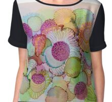 """Delicate"" - Colorful Unique Original Artist's Floral Design! Chiffon Top"