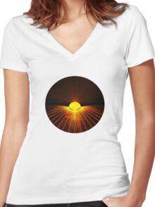 Alien 0002 yellow Women's Fitted V-Neck T-Shirt