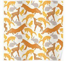 Vintage brown orange cute spring animal pattern Poster