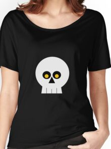 White and Black Skull Women's Relaxed Fit T-Shirt