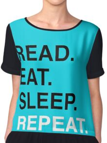 Read. Eat. Sleep. Repeat. (Blue) Women's Chiffon Top