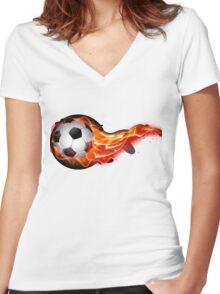 Soccer ball on fire Women's Fitted V-Neck T-Shirt