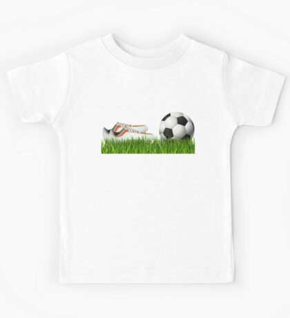 Orange soccer shoes with football Kids Tee