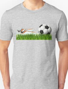 Orange soccer shoes with football Unisex T-Shirt
