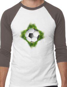 Abstract green grass colorful football design Men's Baseball ¾ T-Shirt