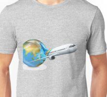 World transport design with globe and plane Unisex T-Shirt