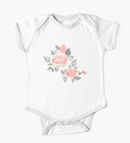 Beautiful roses. Hand-drawn  watercolor flowers  One Piece - Short Sleeve