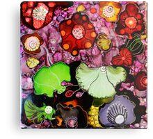 """Fantasy Garden"" - Colorful Unique Original Painting -  Artist's  Floral Design! Metal Print"