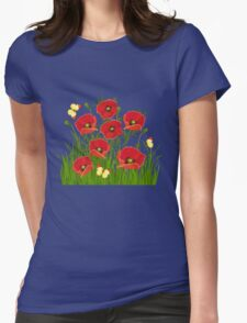 Poppies and Butterflies Womens Fitted T-Shirt