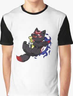 Dark Chibiterasu + Bone + Mirror Graphic T-Shirt