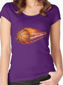 Basketball in fire Women's Fitted Scoop T-Shirt