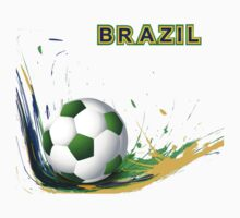 Beautiful brazil colors concept shiny soccer ball Kids Tee