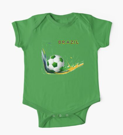 Beautiful brazil colors concept shiny soccer ball One Piece - Short Sleeve