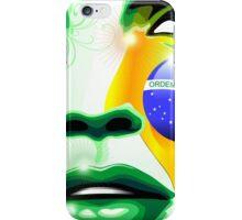 Brazil flag paint on girl face iPhone Case/Skin